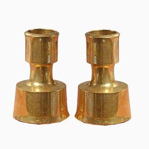 Vintage Finnish Brass Candleholders by Jens Quistgaard for Dansk Design, Set of 2