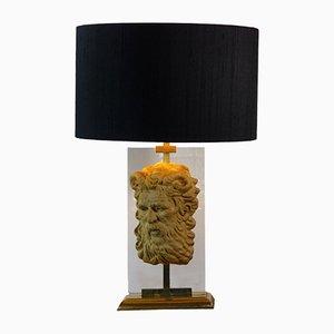Lámpara de mesa estilo neoclásico vintage con máscara de fauno