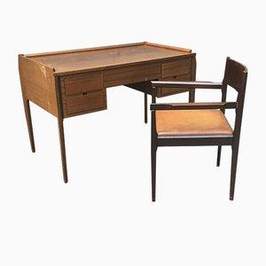 Escritorio italiano vintage pequeño con silla a juego
