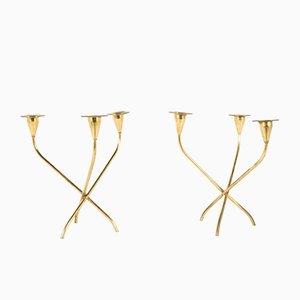 Messing Kerzenständer, 1950er, 2er Set