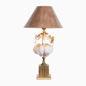 Lampe Hollywood Regency Vintage en Porcelaine et Laiton
