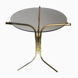 Side Table in Golden Metal and Glass, 1980s