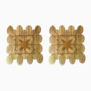 Apliques italianos de cristal de Murano de Vistosi, años 70. Juego de 2