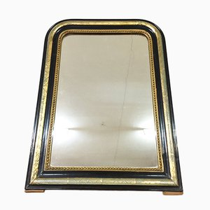 Antique French Napoleon III Mirror in Black and Gold