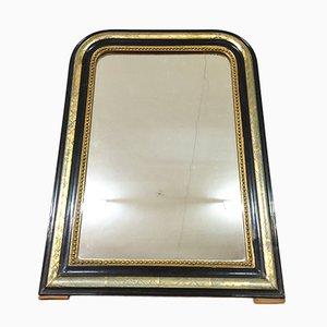 Espejo francés Napoleon III antiguo en negro y dorado