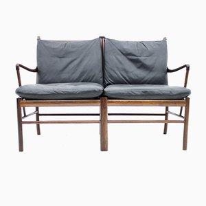 Sofá Colonial de palisandro y cuero negro de Ole Wanscher para Poul Jeppesen, años 60