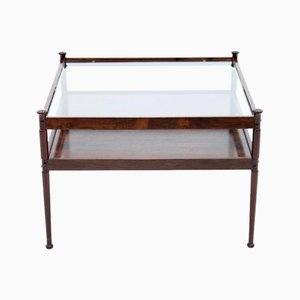 Mid-Century Scandinavian Glass and Wood Coffee Table, 1960s