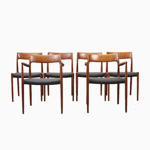 Mid-Century Model 57 & 77 Dining Chairs by N.O. Moller for J.L. Mollers, Set of 6