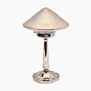 Antique Nickel-Plated Brass Table Lamp, 1909
