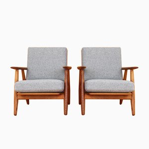 GE-240 Oak Cigar Lounge Chairs by Hans Wegner for Getama, 1955, Set of 2