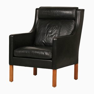 Danish Black Leather and Oak 2431 Model Wing Chair by Børge Mogensen for Fredericia, 1970s