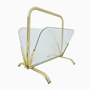 Brass & Glass Magazine Rack, 1970s