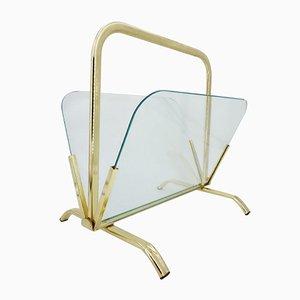 Revistero de latón y vidrio, años 70