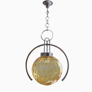 Lámpara colgante Mid-Century de cristal de Murano ámbar, años 70