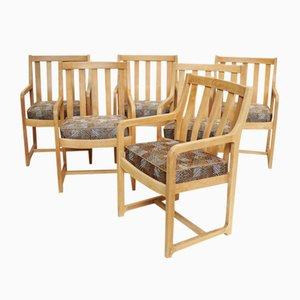Mid-Century Eichenholz Armlehnstühle, 1950er, 6er Set