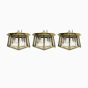 Austrian Hand-Cut Ceiling Lights, 1900s, Set of 3