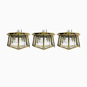 Lampade da soffitto tagliate a mano, Austria, inizio XX secolo, set di 3