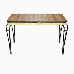 Mid-Century Formica and Vinyl Table with Wrought Iron Legs, 1960s