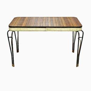 Tavolo Mid-Century in formica e vinile con gambe in ferro battuto, anni '60