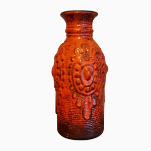 No. 7302 Red Fat Lava Space Age Ceramic Vase from Carstens Tönnishof