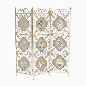 Floral Wrought Iron Room Divider with Wooden Panels, 1960s