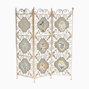 Floraler Raumteiler aus Schmiedeeisen mit Holzplatten, 1960er