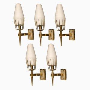 Italienische Wandlampen von Angelo Lelii für Arredoluce, 1950er, 5er Set