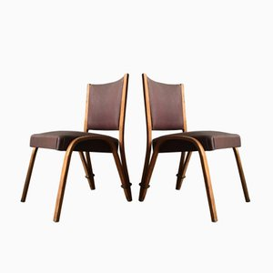 Vintage Bowed Wood Chairs by Wilhelm Von Bode for Steiner, Set of 2