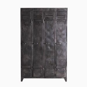 Mid-Century Black Steel Locker, 1950s