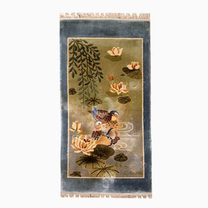 Vintage Chinese Handmade Silk Rug, 1980s