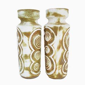 Jarrones alemanes de cerámica de Bay Keramik, años 70. Juego de 2