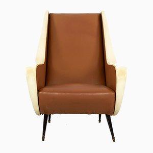 Sillón italiano de cuero sintético marrón y beige, años 50