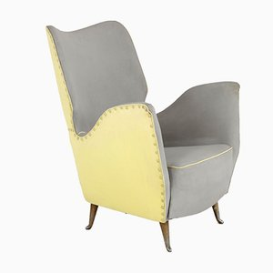 Italian Yellow & Grey Skai Armchair from I.S.A., 1950s