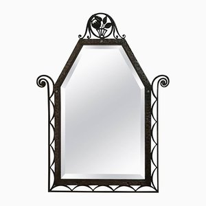 Art Deco Wrought Iron Wall Mirror, 1930s