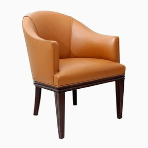 Art Deco Mahogany Office Armchair by René Joubert & Philippe Petit for D.I.M, 1930s