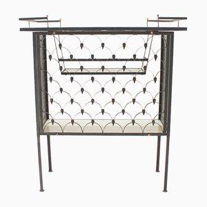 Carrito de bar italiano de hierro y azulejo, años 50