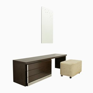 Space Age Vanity Desk with Mirror & Pouf, 1970s