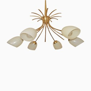Mid-Century Sputnik Spider Lamp with Striped Glass Shades