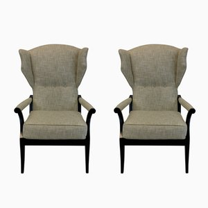 Mid-Century Italian Reclining Armchairs, Set of 2