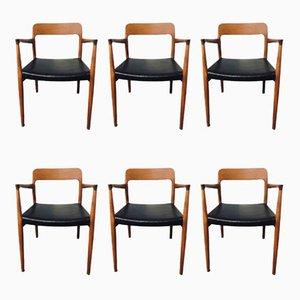 Chaises de Salon Modèle 75 & 56 Mid-Century en Teck par Niels Otto (N. O.) Møller, Set de 6