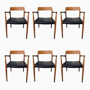 Mid-Century Modell 75 & 56 Esszimmerstühle aus Teak von Niels Otto Møller, 6er Set