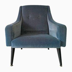 Butaca vintage de terciopelo azul