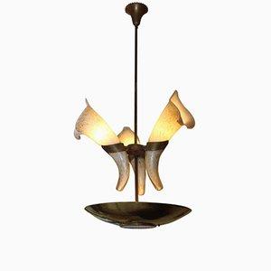 Lámpara de araña con Cornucopias de cristal de Murano de Barovier, años 60