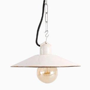 Petite Lampe à Suspension Emaillée Blanche, 1950s