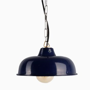 Vintage Enameled Pendant Light, 1970s