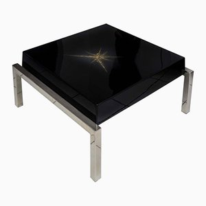 Black Lacquered Low Coffee Table from Maison Guerin, 1970s
