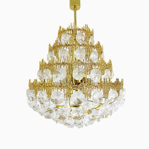 Lampadario grande in metallo dorato e cristallo, anni '60