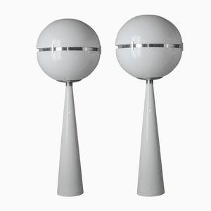Large White Globe Shaped Floor Lamps, 1970s