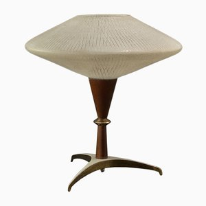 Lampada da tavolo Mid-Century in teak, ottone e vetro, anni '50