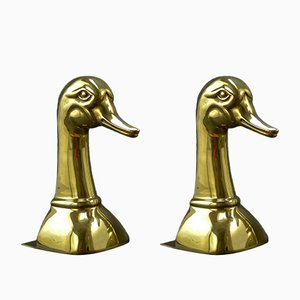 Large Brass Duck's Head Book Supports from Sarreid, 1970s, Set of 2